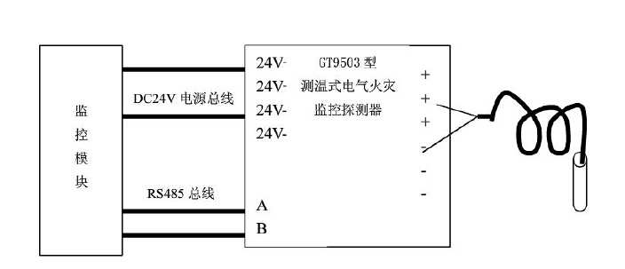 测温式电气火灾监控探测器与监控模块的接线示意图_副本.jpg