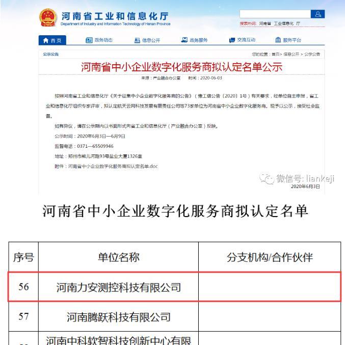 热烈祝贺力安科技被评选为河南省中小企业数字化服务商